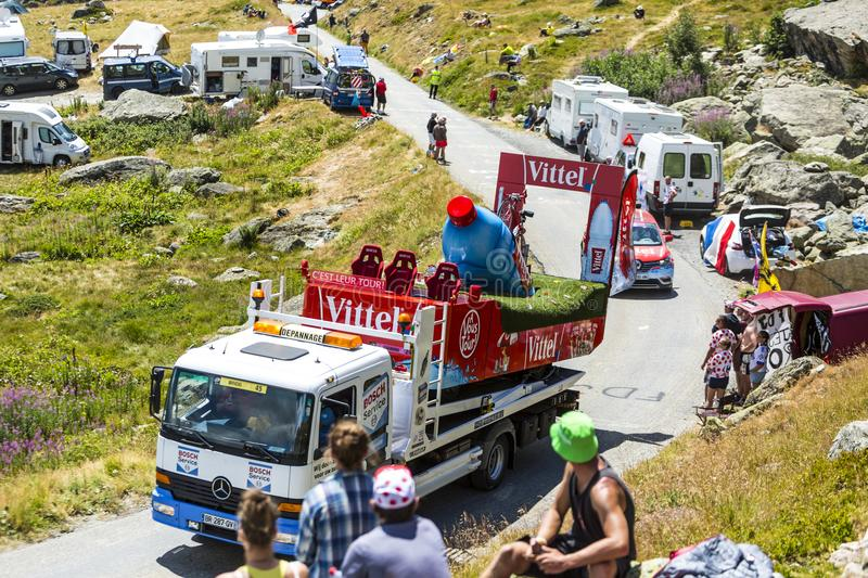 Service Truck in Alps - Tour de France 2015 stock photography