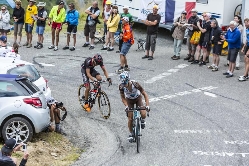 Two Cyclists - Tour de France 2015 stock photography