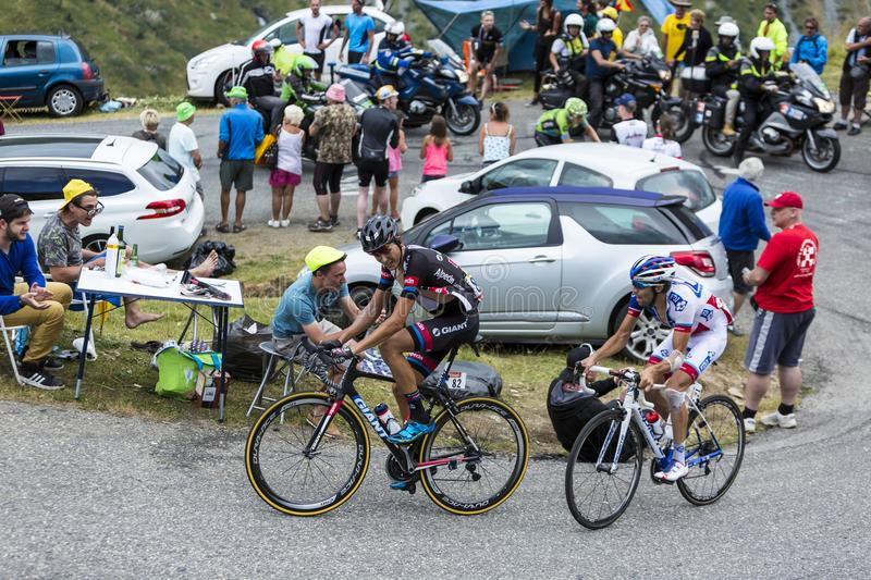 Two French Cyclists - Tour de France 2015 royalty free stock photography