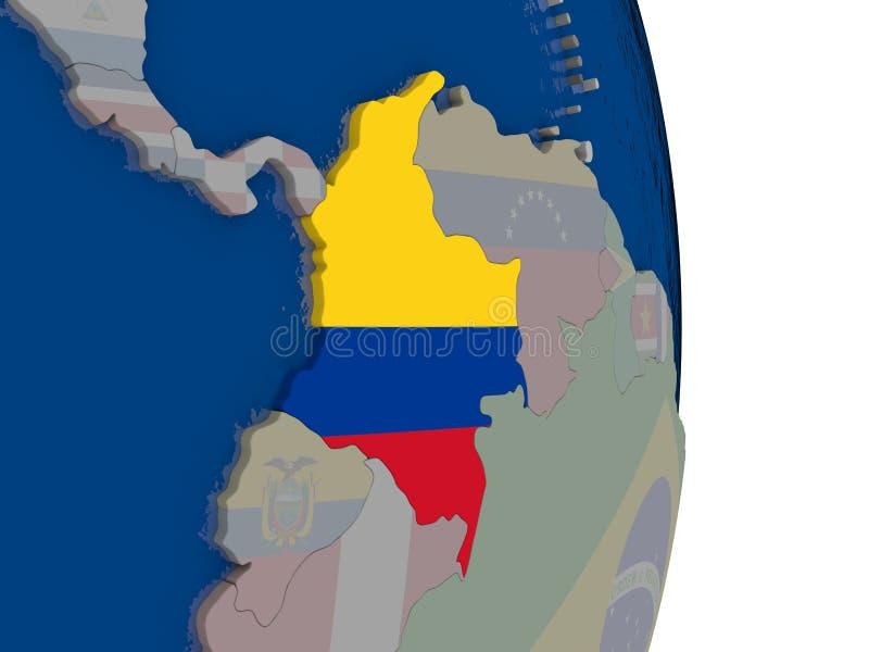 Colômbia com sua bandeira ilustração do vetor