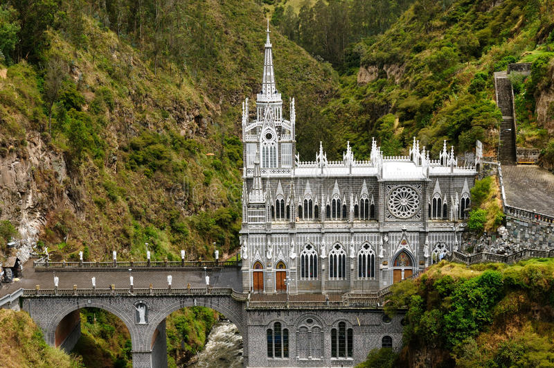 Colômbia, santuário do Virgin de Las Lajas fotos de stock royalty free