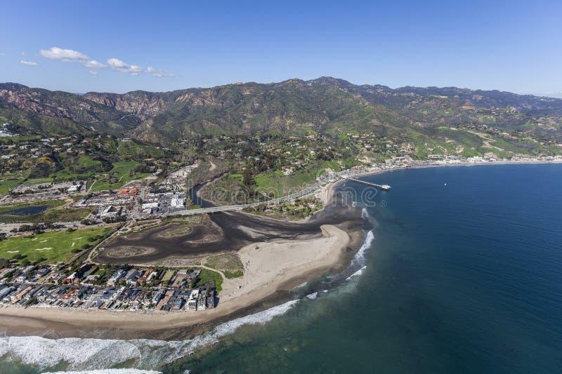 Colônia de Malibu, lagoa e antena da praia de Surfrider fotografia de stock royalty free