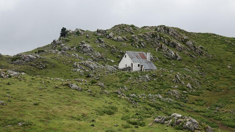 Hut at Col de la Pierre Saint Martin in the Pyrenees, France. Col Saint Martin or Collado de la Piedra San Martin  is a high mountain pass at an elevation of 1 royalty free stock photo