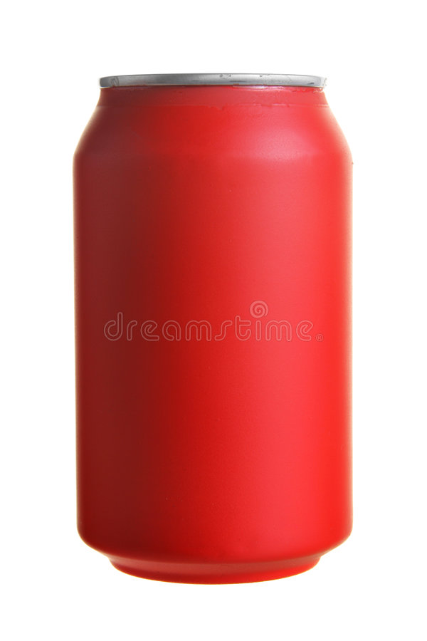 Cola. Red drink can isolated over white background royalty free stock photography