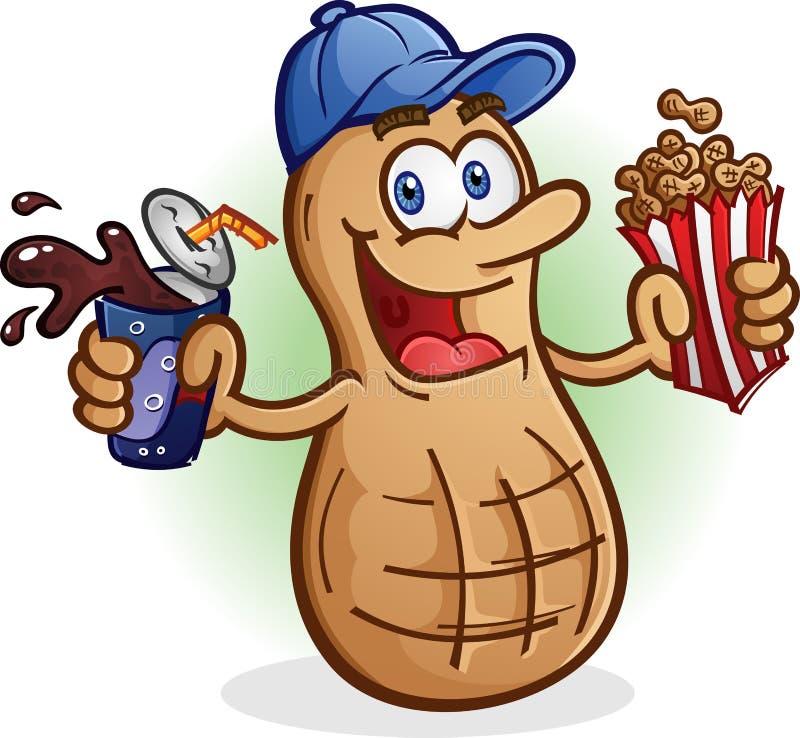 Cola bevente di schiocco di soda del personaggio dei cartoni animati dell'arachide illustrazione di stock