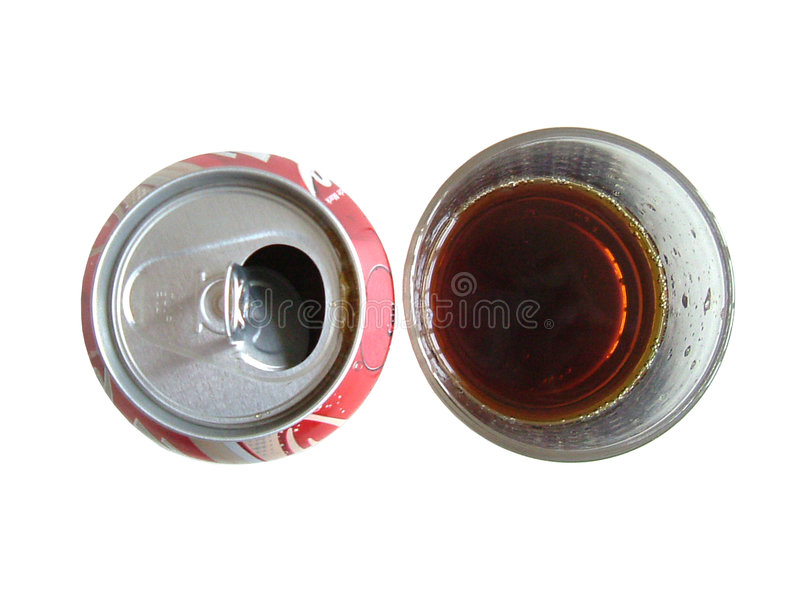 Cola in can and glass royalty free stock photography