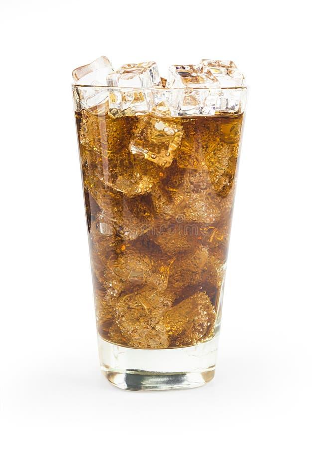 Cola con ghiaccio e le bolle fotografie stock libere da diritti