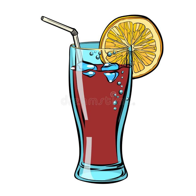 Cola con il limone Isolato su un fondo bianco royalty illustrazione gratis