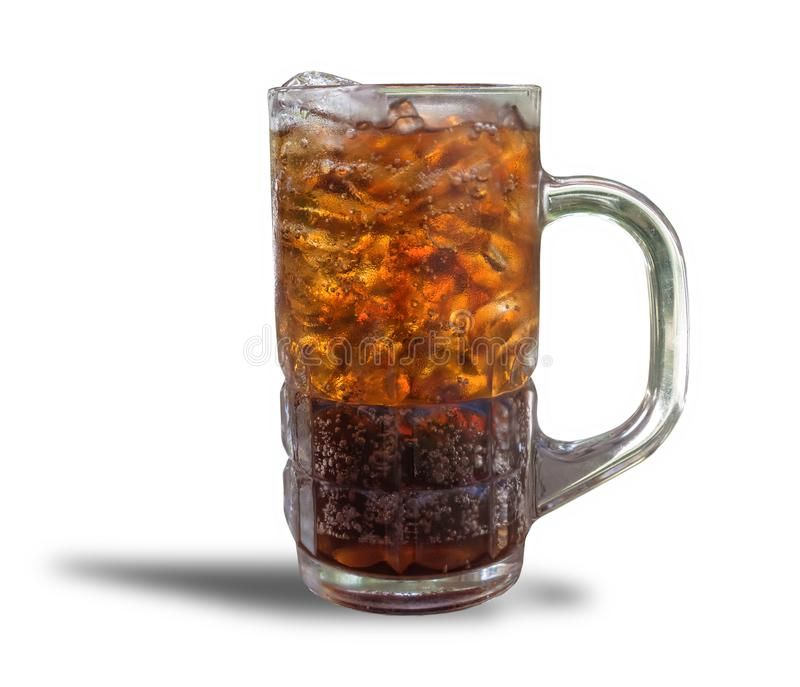 Cola cup Aerated soft drink Refreshing with ice cubes on orange bright background hungry, eager, avid, athirst, starveling.isolate. D on white background with stock image