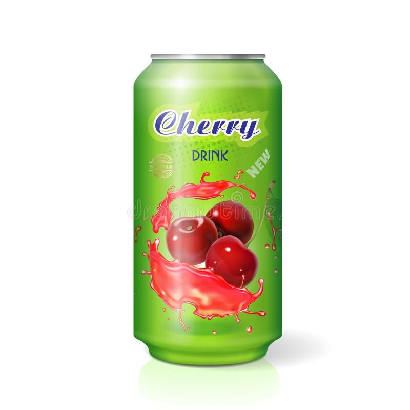 Cola de la cereza en la poder de aluminio aislada Paquete del refresco de la baya libre illustration