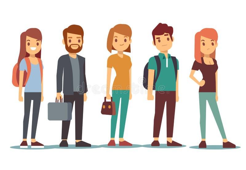 Cola de la gente joven Mujeres y hombres que esperan que se colocan en línea Ilustración del vector stock de ilustración