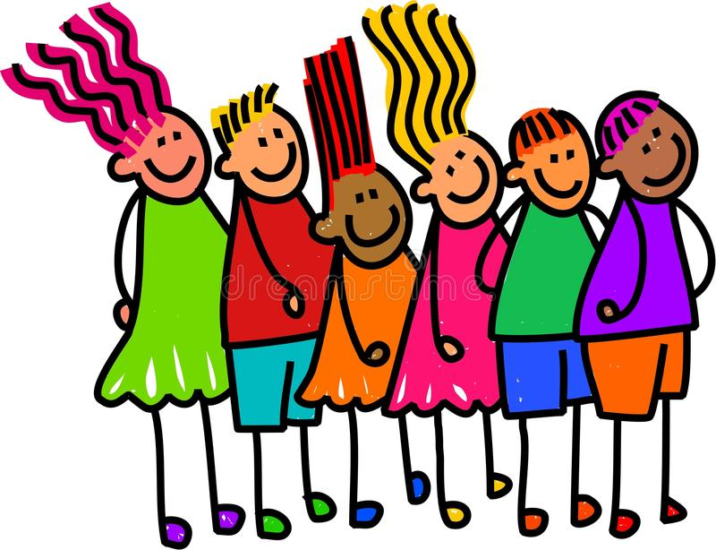 Cola de niños felices ilustración del vector