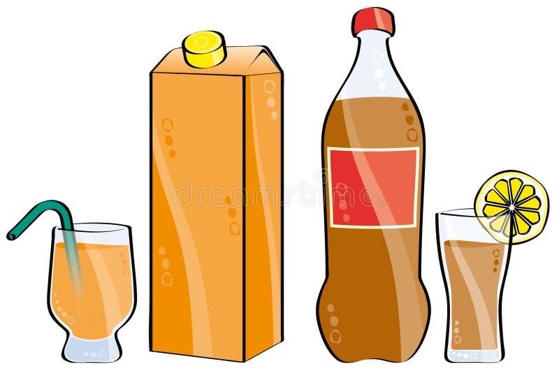 Cola e succo di arancia illustrazione vettoriale
