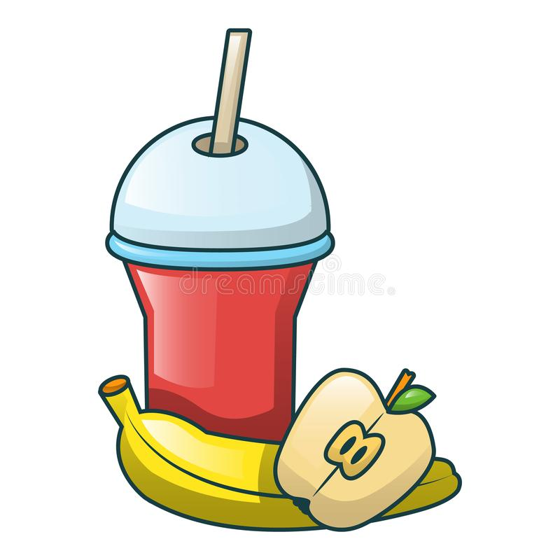 Cola and fruits icon, cartoon style stock illustration