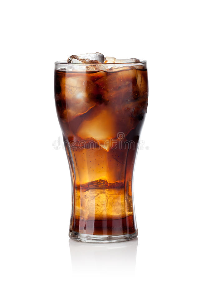 Cola glass with ice cubes stock images