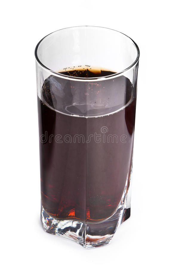 Cola in glass on white