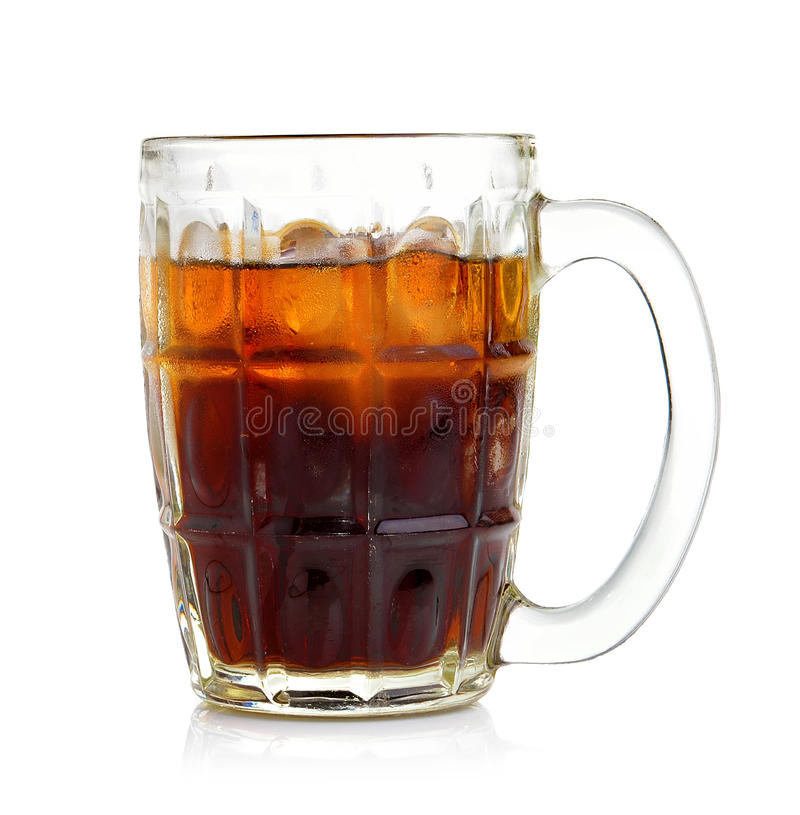 Cola in the glass. On white background royalty free stock photography
