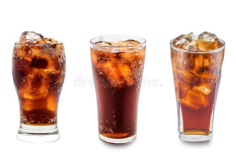 Cola i isolerat exponeringsglas royaltyfri bild