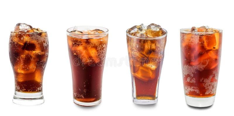 Cola i isolerat exponeringsglas royaltyfri foto