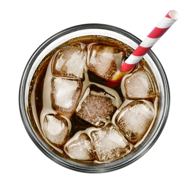 Cola with ice and drinking straw stock image