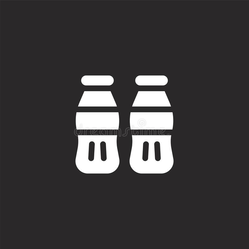 Cola icon. Filled cola icon for website design and mobile, app development. cola icon from filled dessert and candies collection. Isolated on black background royalty free illustration