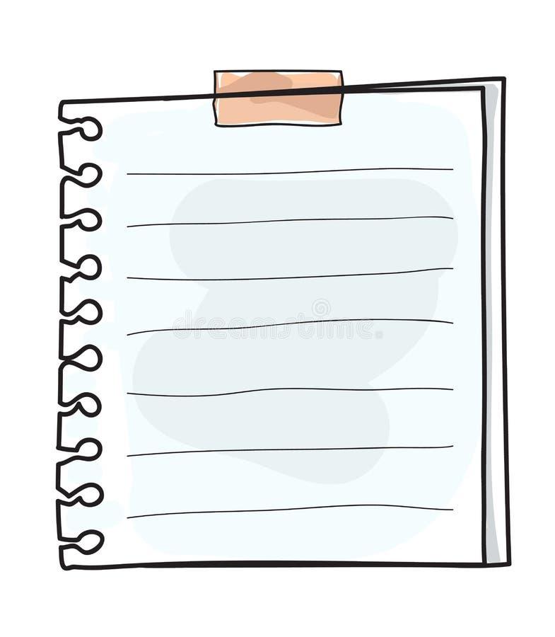 Cola a ilustração bonito tirada mão do vetor da arte do papel de nota ilustração royalty free