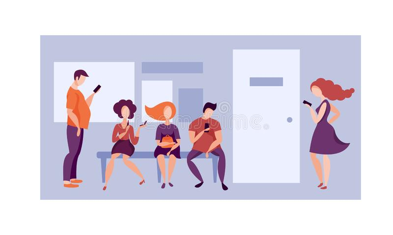 Cola a la oficina Vector libre illustration