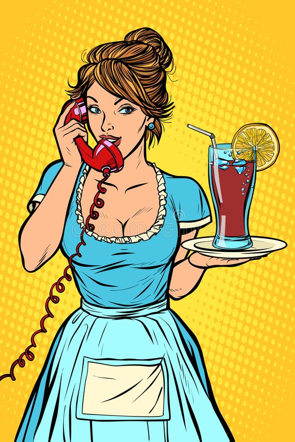 Cola with lemon Delivery. Hotel service. Waitress vector illustration