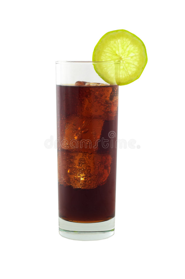 Cola with lime and ice cubes royalty free stock images