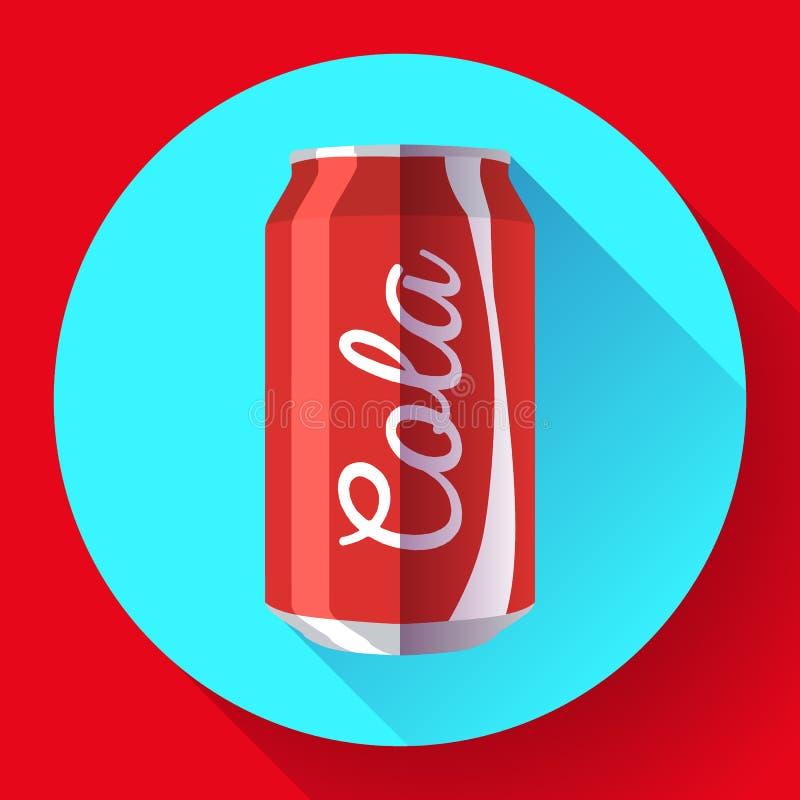 A cola lisa pode cola da ilustração do vetor da lata de soda pode vector o ícone ilustração royalty free