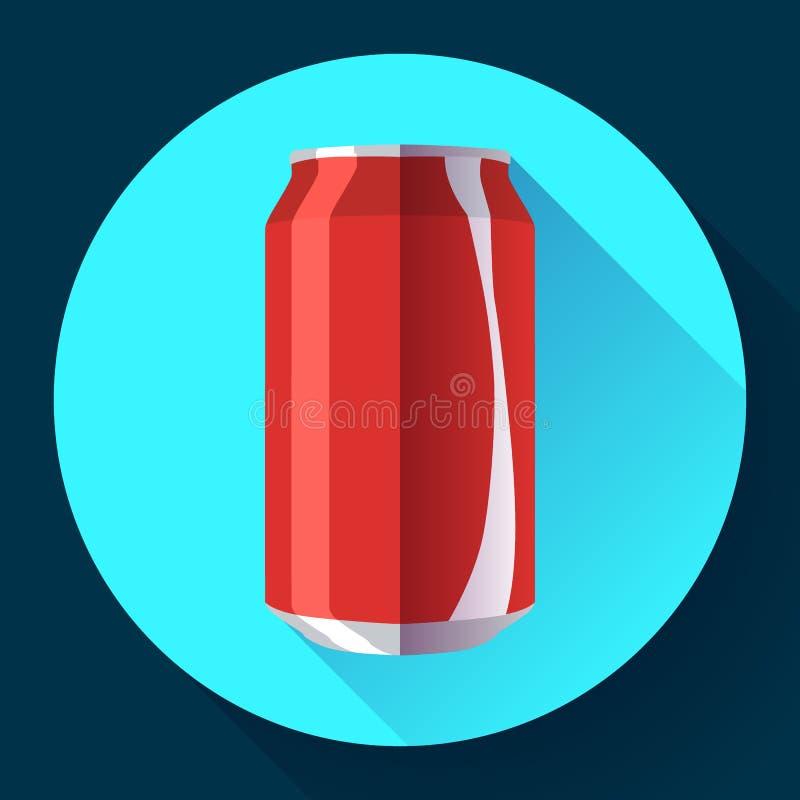 A cola lisa pode cola da ilustração do vetor da lata de soda pode vector o ícone ilustração do vetor