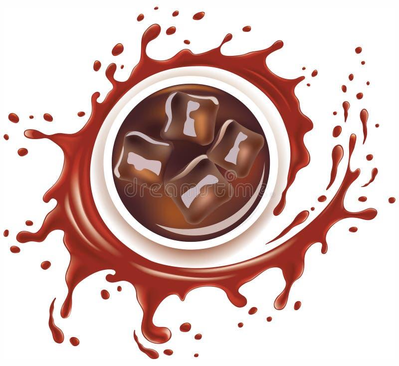 Cola mit Eiswürfeln und Spritzen mit vielen Tropfen vektor abbildung