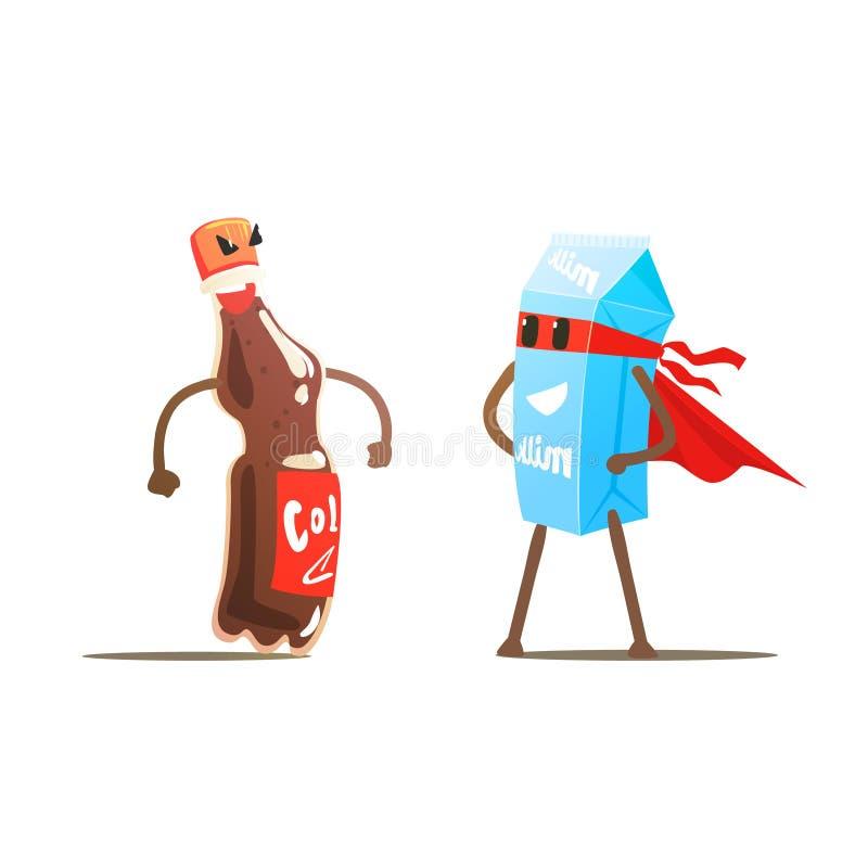 Cola mot mjölkar tecknad filmkamp royaltyfri illustrationer