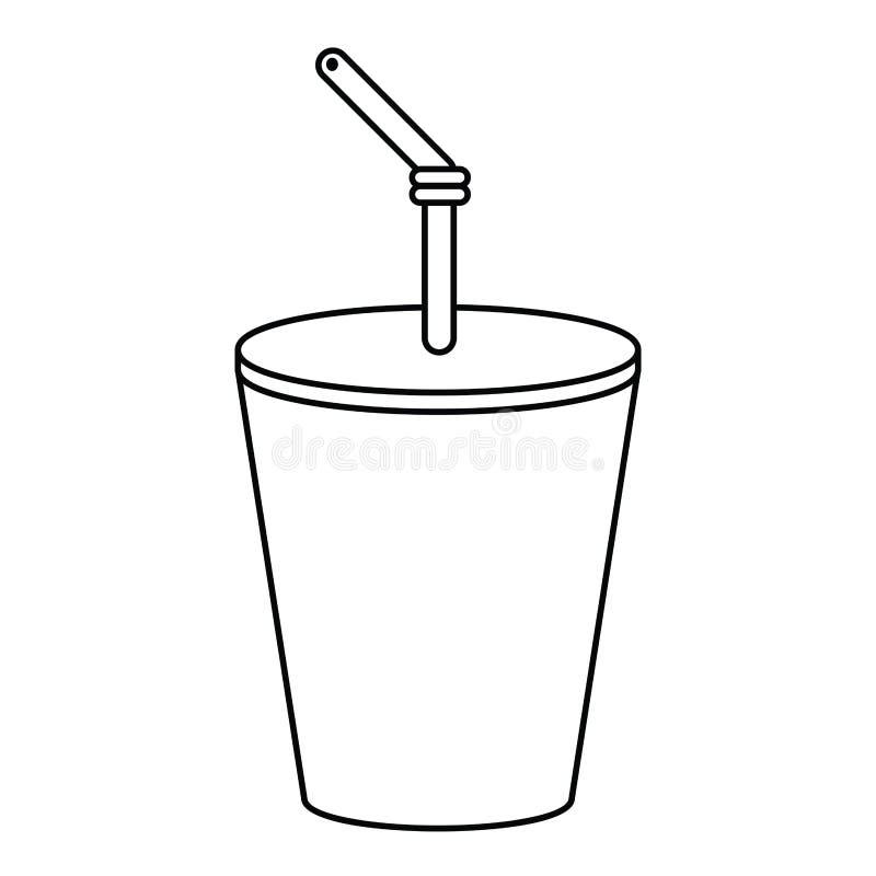a cola plástica da bebida do copo dilui a linha ilustração do vetor
