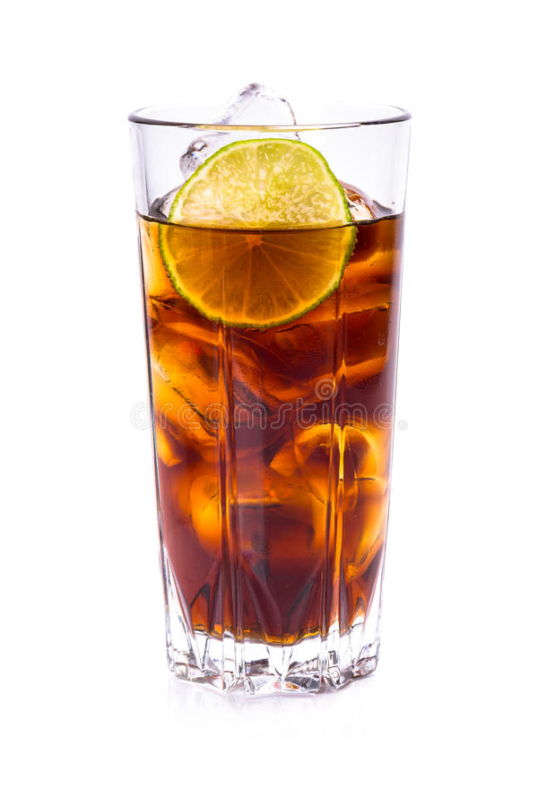 Download Cola In Tall Glass With Ice Cubes And Lime Stock Photo - Image: 38725612