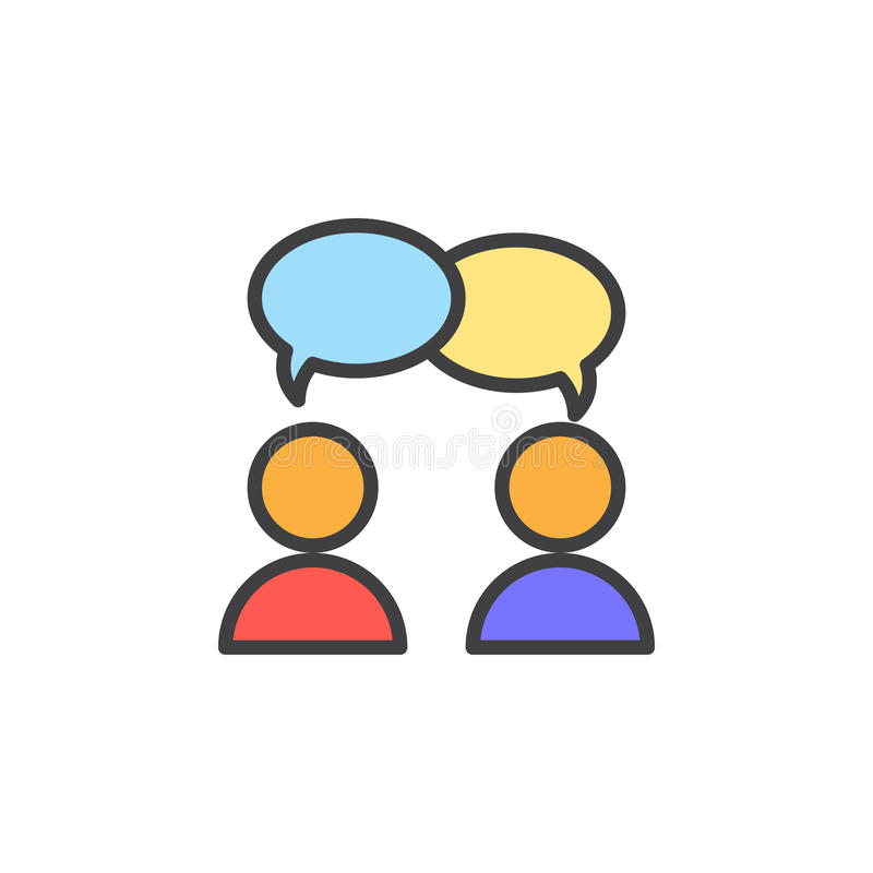 A colaboração, conversação encheu o ícone do esboço, linha sinal do vetor, pictograma colorido linear ilustração do vetor