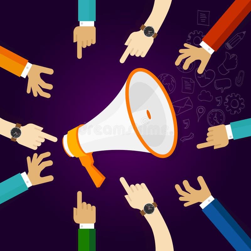 Colaboração do mercado no anúncio dos meios de uma comunicação empresarial e da relação pública Conceito dos trabalhos de equipa ilustração royalty free