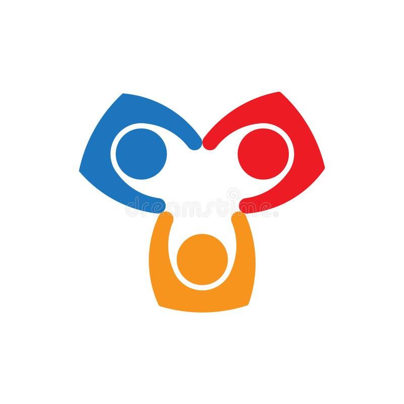 Colaboração dos povos dos trabalhos de equipe Projeto do logotipo do vetor ilustração do vetor