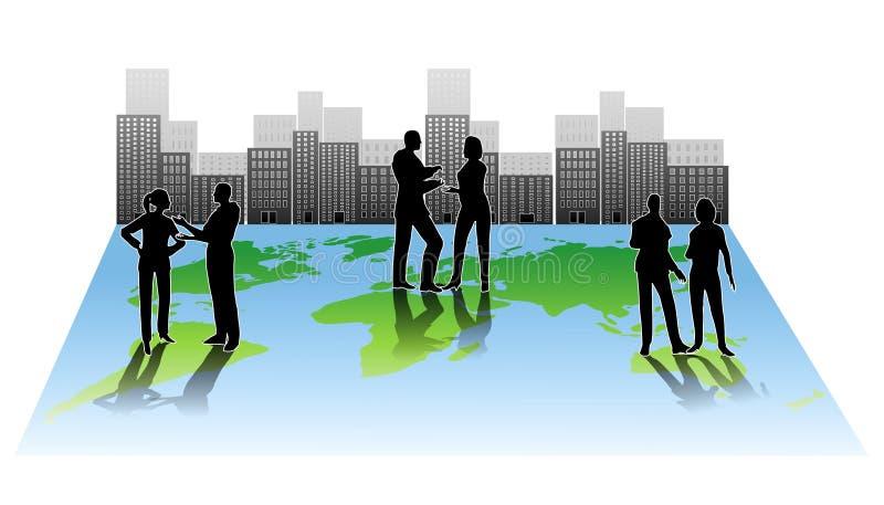 Colaboración global de la gente de ciudad stock de ilustración