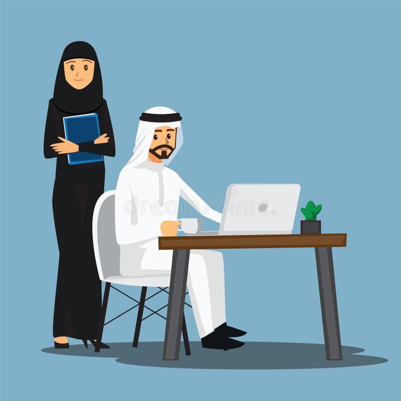 Colaborador autônomo, Arabian ou desenhista trabalhando em casa, vetor ilustração royalty free