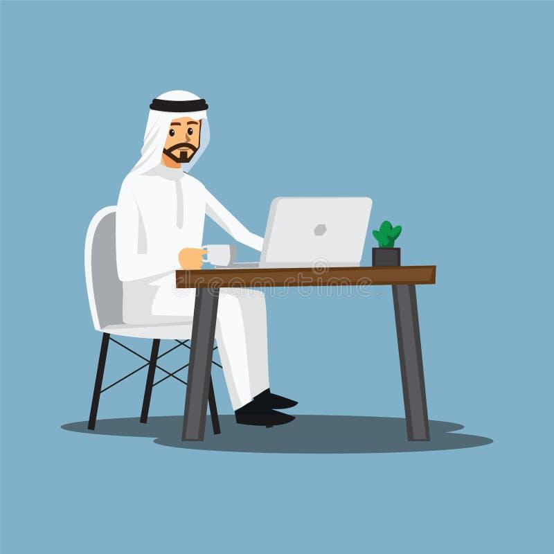 Colaborador autônomo, Arabian ou desenhista trabalhando em casa, vetor ilustração do vetor