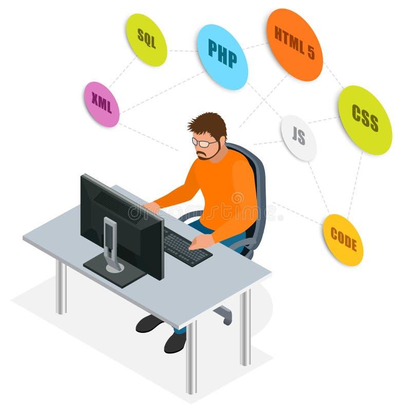 Colaborador que usa o laptop Conceito do desenvolvimento da Web Conceito de programação da Web Programação, codificação, testando ilustração stock