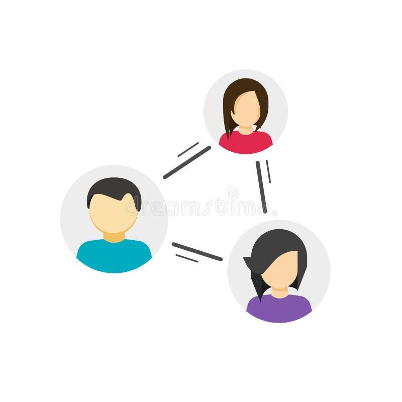 Colaboran o los vínculos compartidos entre el icono del vector de la comunidad, concepto de par, vínculo entre la gente social, r ilustración del vector