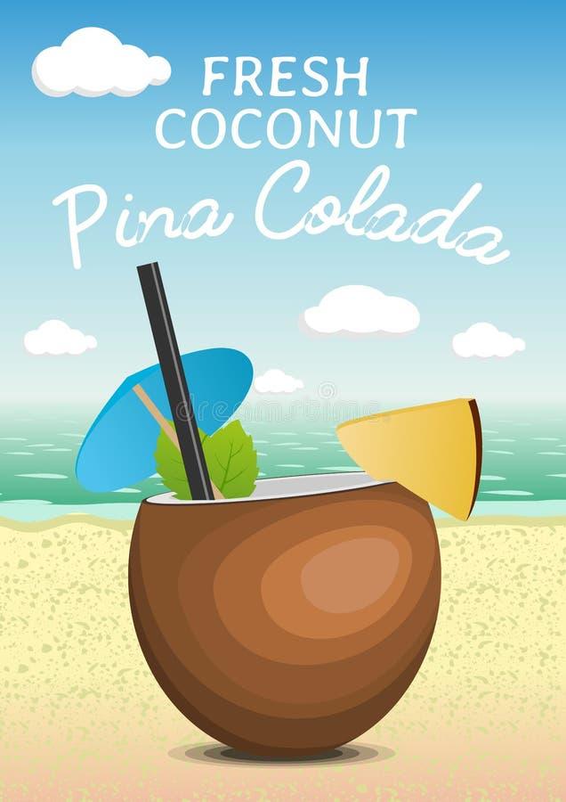 Colada fresco di pina del cocktail della noce di cocco tropicale su una spiaggia Progettazione del manifesto illustrazione vettoriale