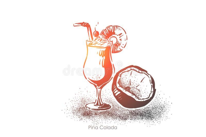 Colada Pina, ελαφρύ ρούμι με το γάλα καρύδων και χυμός ανανά, εξωτικό ποτό οινοπνεύματος, εύγευστο μακρύ ποτό διανυσματική απεικόνιση