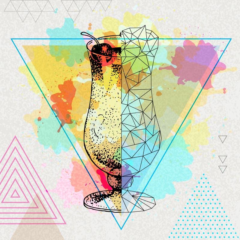 Colada realístico e poligonal do moderno do cocktail do pina ilustração do vetor