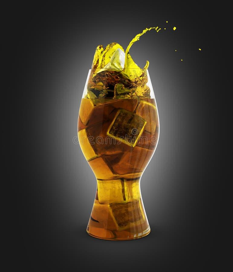 Colaexponeringsglas med iskuber på svart lutningbakgrund 3d vektor illustrationer
