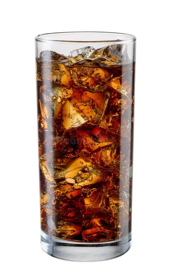 Colaexponeringsglas med iskuber som isoleras på vit Med den snabba banan fotografering för bildbyråer
