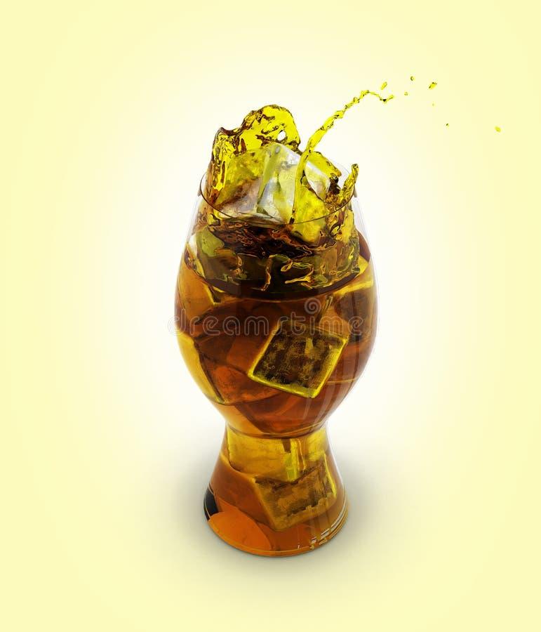 Colaexponeringsglas med iskuber utan skugga på gul lutningbackgound 3d stock illustrationer