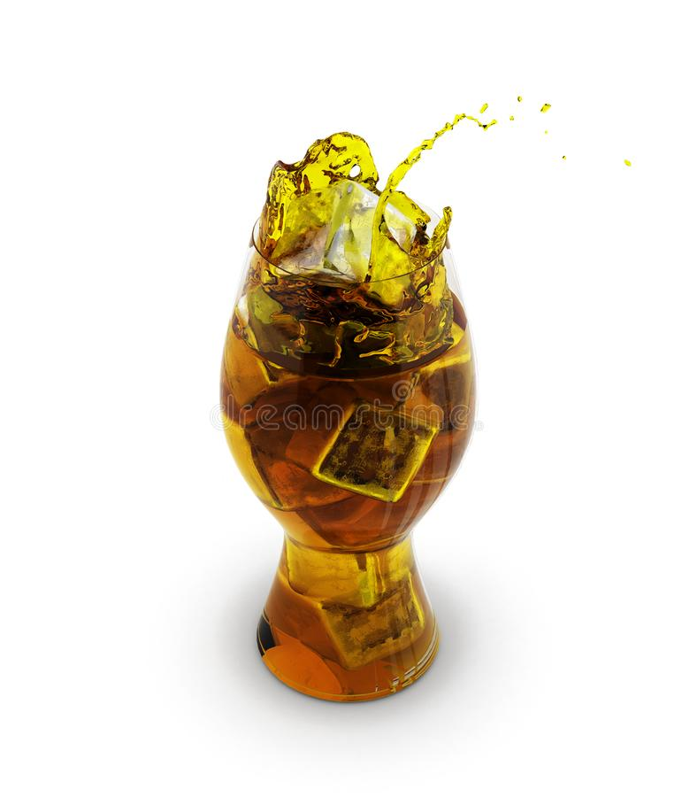 Colaexponeringsglas med iskuber ?ver vit 3d vektor illustrationer